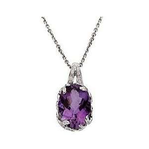 Captivating Large Deep Purple Amethyst & Diamond Pendant set in 14 kt