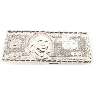 Iced Out Benjamin Franklin 100 Dollar Bill Silver Belt Buckle One Size