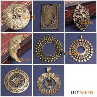 Vintage Style Antique Brass Large Pendant Jewelry Findings Charms