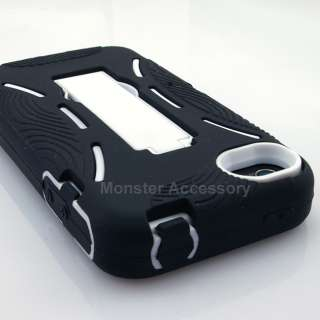 Black White Double Layer Kickstand Hard Case Gel Cover For Apple