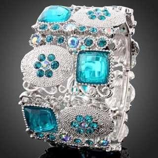 Aqua Swarovski Crystal White Gold GP Bangle Bracelet