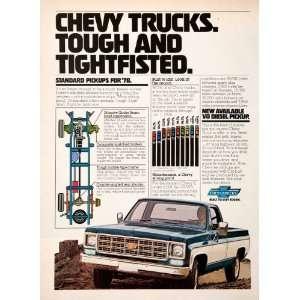 1977 Ad Chevy Chevrolet Pickup Truck Advertisement 1978 Diesel