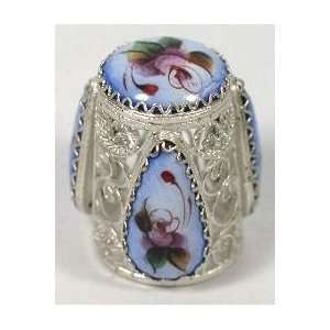 Russian Thimble Filigree/Hand Painted Enamel (1217