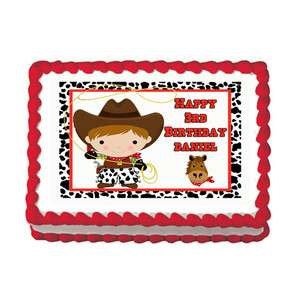 COWBOY WESTERN Birthday Party Cake Image Decoration