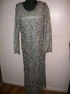 NWOT Soulmates Bead Crochet Dress & Jacket `Light Blue` Size Small