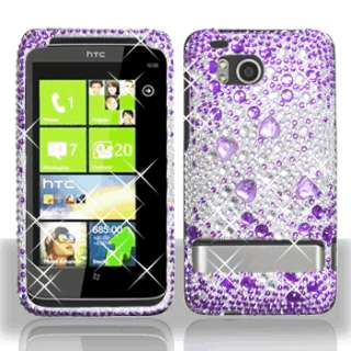 PURPLE SILVER BLING DIAMOND CASE COVER for HTC ThunderBolt 6400