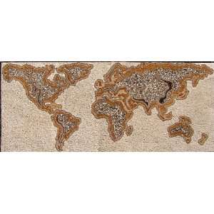 48x114 World Map Handmade Marble Stone Art Tile Wall