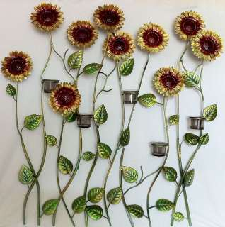 METAL DECORATIVE WALL HANGING SUNFLOWER VOTIVE HOLDER