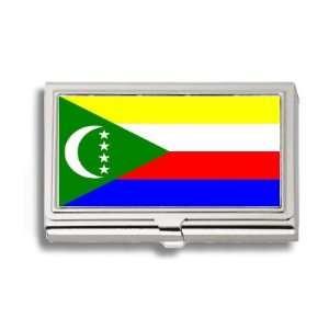 Comoros Islands Flag Business Card Holder Metal Case