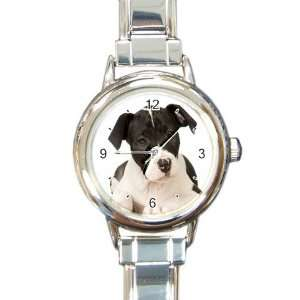 American Staffordshire Puppy Dog Round Italian Charm Watch