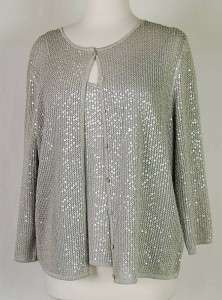 ELLEN TRACY 2 pc Sequin Camisole w/ Cardigan SILVER   L