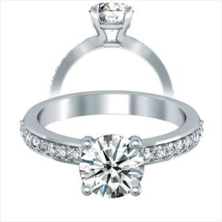 24Ct Round Cut Engagement Ring 14K Solid Gold
