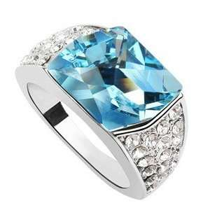 Holiday Nano Platinum Plated Sterling Silver Austrian Crystal Ring