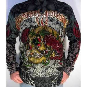 CHRISTIAN AUDIGIER ED HARDY MENS PLATINUM SKULL ROSE THERMAL SHIRT