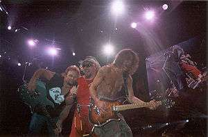 Van Halen during their 2004 reunion period, left to right Michael