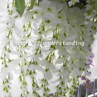 Artificial Silk Wisteria Bush Flower Vine Wedding Garland Decor White