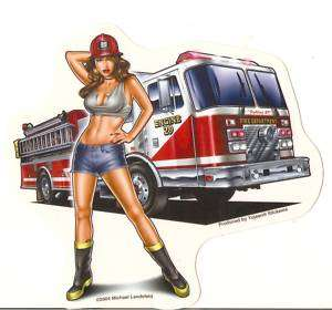 Sexy FIRE DEPARTMENT FIGHTER GIRL Pinup Sticker Decal
