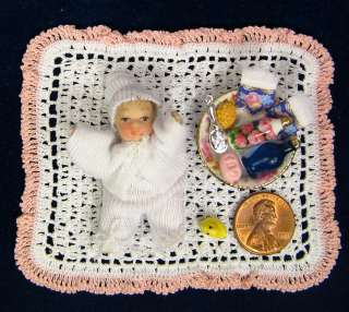 Tiny REUTTER BABY DOLL SET with BLANKET~infant~dollhouse miniature