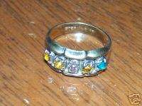 VINTAGE STERLING SILVER MOTHERS RING GOLD PLATE & TOPAZ