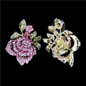 Flower Rose Pierced Stud Earring Pink Austrian Rhinestone Crystal