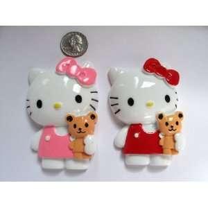 2 Jumbo Kawaii Resin Cabochon Flat Back Hello Kitty /Bear