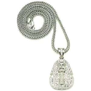 Pharaoh Iced Out Pendant Necklace All Silver With Franco Style Chain