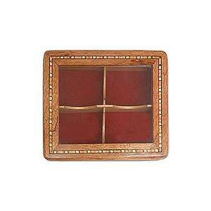 Cedar and mahogany tea box, Open Window