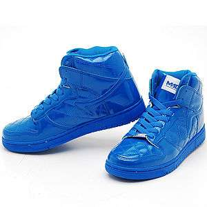 Mens Blue Shiny High Top Sneakers Shoes US sz 7~11 NWT
