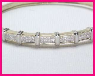 14kyg Princess Diamond Invisible Set Bangle Bracelet 2.00 carats