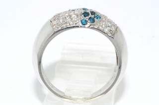 2500 .63CT ROUND CUT BLUE & WHITE DIAMOND WEDDING BAND SIZE 7