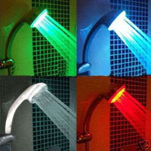 Temperature 3 Color Changing LED Light Shower Head RGB