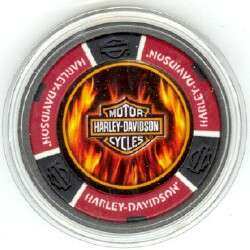 HARLEY DAVIDSON FLAMES poker chip Card Guard