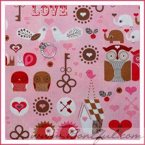 BOOAK Fabric Kaufman Red Pink Elephant Bird *VALENTINE Heart Owl Quilt