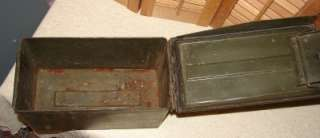 Vtg Green Army Military Storage Box Chest Trunk