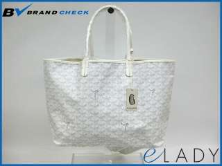 Auth GOYARD ST. LOUIS PM SHOULDER BAG COATING CANVAS WHITE(BF031414