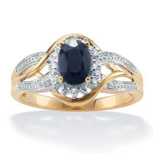 10k Gold Oval Blue Sapphire and Round Diamond Accent Ring Jewelry