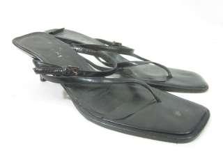 AUTH GUCCI Black Leather Slingback Sandals Pumps Size 8