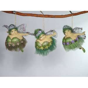 butterfly fat fairy bank green Christmas ornament