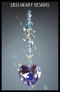 Crystal ROSALINE HEART RAINBOW MAKER SUN CATCHER With Aurora Borealis