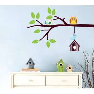 tree branch with hanging bird house owl and birds Vinyl wall decal