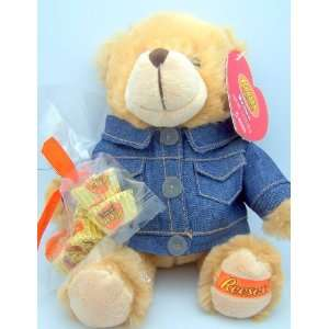 Reeses Peanut Butter Cup Plush Bear with Jean Jacket Amd