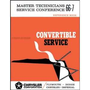 1966 Convertible Service Training Manual Reprint Coronet