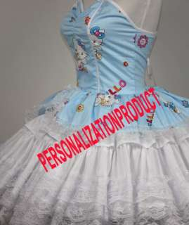 Sweet Gothic Lolita blue Cosplay Hello Kitty Pattern 6 Ballroom Corset