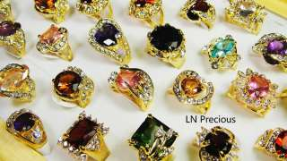 HOT ON SALE wholesale lots 50pcs Rhinestone Cubic Zirconia Gold rings