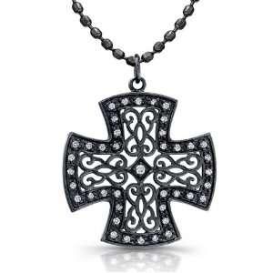 14k Black Rhodium Plated White Gold Diamond Cross Pendant (1/8cttw, JK