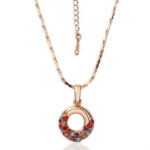 Rose Gold Inlaid Crystal Happiness Donut Pendant 18k Gold