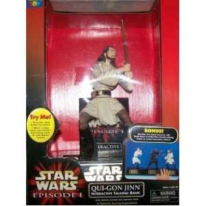 Wars Episode I Qui Gon Jinn Interactive Talking Bank Toys & Games