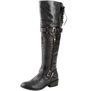 Womens Knee High Leather Buckle Tall Boots Black Tall