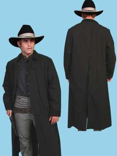 MENS WESTERN OLD WEST COWBOY SCULLY LONG DUSTER COAT BLACK BROWN TAN