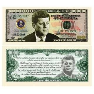 SET OF 5 BILLS JOHN F. KENNEDY (JFK) COMMEMORATIVE MILLION DOLLAR BILL